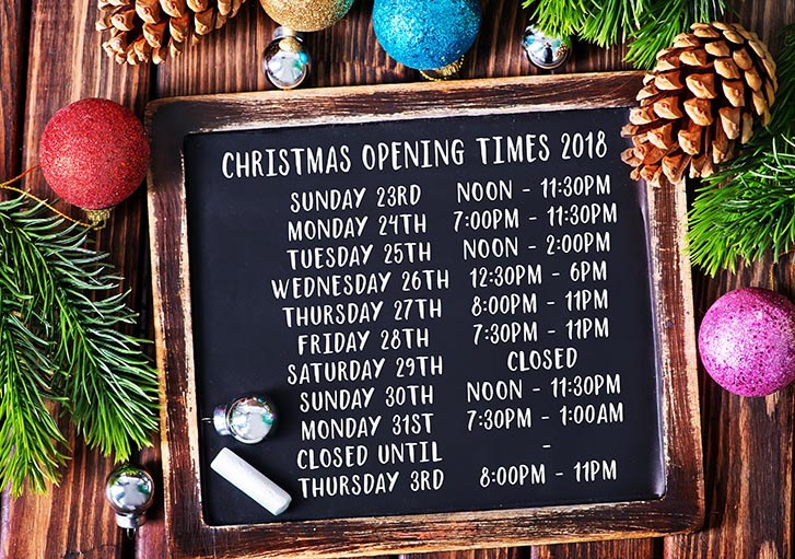 We are now open on Boxing Day